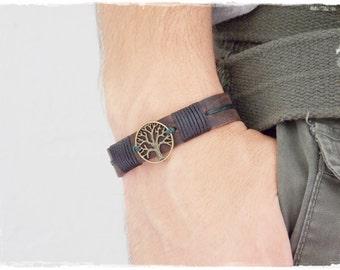 Leather Men's Bracelet, Tree Of Life Bracelet, Pagan Bracelet, Celtic Leather Bracelet, Woodland Bracelet, Nordic Leather Cuff, Elven Cuff