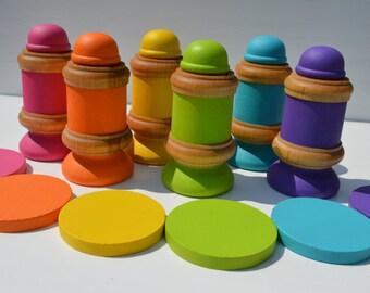 "Montessori & Waldorf Inspired Wooden Sensory Toy ""Men at Work"""