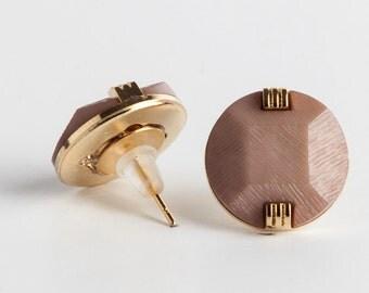 SALE 20% - brown earrings, gold plated earrings, stud earrings, spring earrings. vintage studs