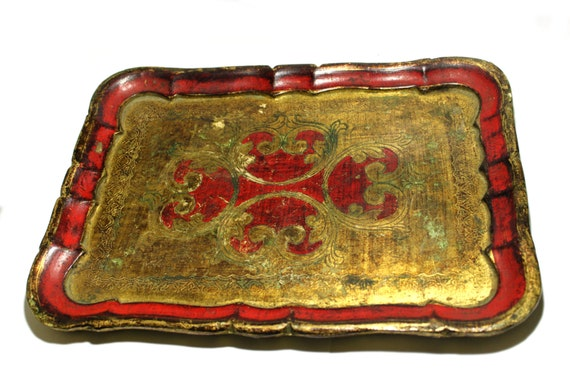 Vintage Florentine red and gold tray, Italian, Hollywood Regency home decor