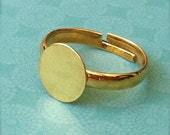 5 - Adjustable Ring Base Blank - Jewelry Supply - Gold Plated - 10mm Pad