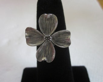 Dogwood Pewter Button Ring, Wire Wrapped