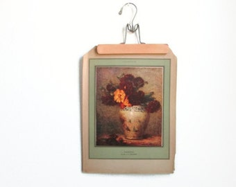 Vintage Art Print Fall Dahlia Flower Vase Illustration