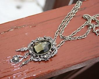 Black Stone Necklace Smokey