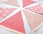 Beautiful Pink Floral Bunting perfect for parties, birthdays, bedrooms
