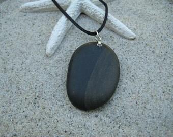 Brown and Black Beach Stone Pendant
