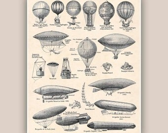 Hot Air Balloons Print, Dirigible Balloons, Vintage Aerostation Illustration, decorative poster, hot air balloon decor, home decor