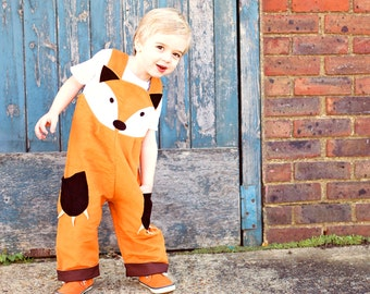 fox dungaree costume for children