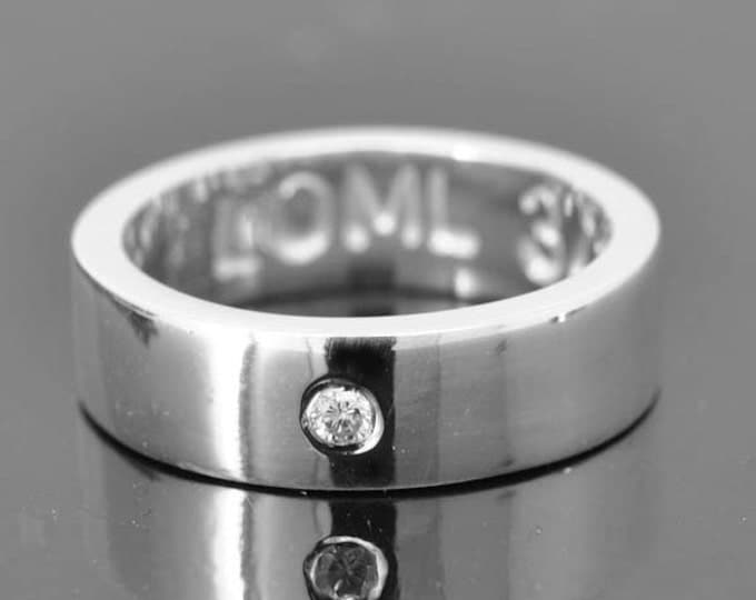 Diamond wedding band, wedding ring, engagement ring, mens ring, mens wedding band, man wedding ring band, men promise, engraved, 5mm