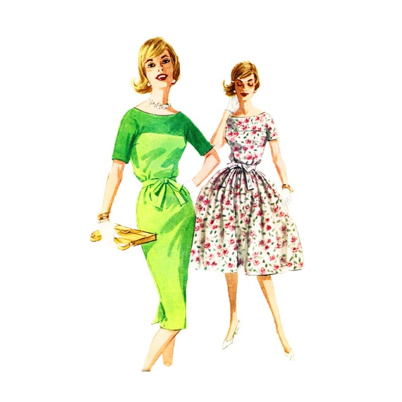 Vintage 1960s Sewing Pattern Misses Dress Full or Slim Skirt  Front Yoke Size 12 Bust 32 McCalls 5811 UNCUT