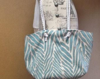 Blue Zebra Tote Bag / Beach Tote Bag