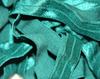 "FREE Shipping! 5/8"" Hunter Green Fold Over Elastic FOE By the Yard You Choose Length DIY Headbands"