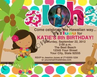 Aloha Hula Girl Photo Birthday Invitation-YOU PRINT- 2 Designs