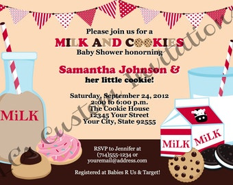 Milk and Cookies Baby Shower Invitation-YOU PRINT-