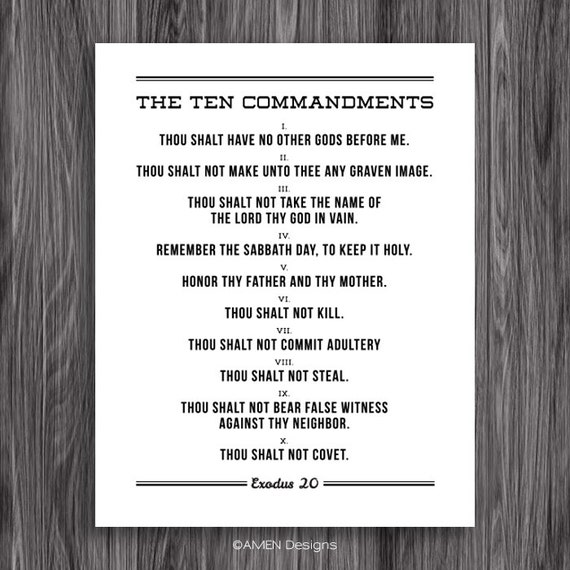 Monster image throughout free printable ten commandments