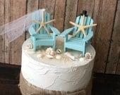 Something Blue Beach wedding cake topper-Miniature Adirondack chairs-beach chairs-beach wedding-starfish