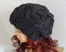 women slouchy  beanie hat Slouch Beanie Unisex  Large hat - chunky hat - Chunky Knit Winter Fall Accessories  Knit Cable hat  - any color #1