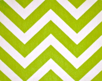 Jade (Lime) & Snow Chevron Minky From Shannon Fabrics