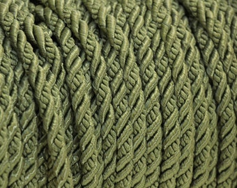 Vintage Sage green  twisted rope trim