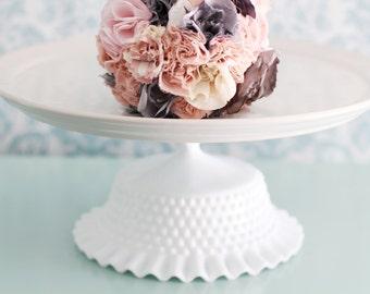 "Cake Stand / 14"" Ceramic Cake Stand / White Milk Glass Cake Pedestal / Cupcake Stand / Wedding Cake Stand for Vintage-Inspired Weddings"