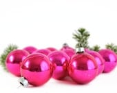 Vintage Glass Ornaments Hot Pink Fuschia Set 12 Original Box - OldVintageGoodies