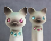 Siamese Cat Figurines Set 2 Rhinestone Eyes Collars Napco Japan