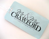 Luggage Tag Pair- Custom Family Name Luggage Tag Set - His and Hers Luggage Tags - Personalized Luggage Tag