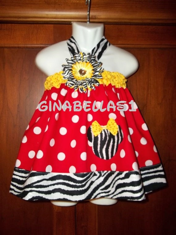 Minnie Mouse outfit dress disney first Birthday party baby girl halter zebra applique bow available 3 6 9 12 18 months 2t 3t  4t 5 6 7 8
