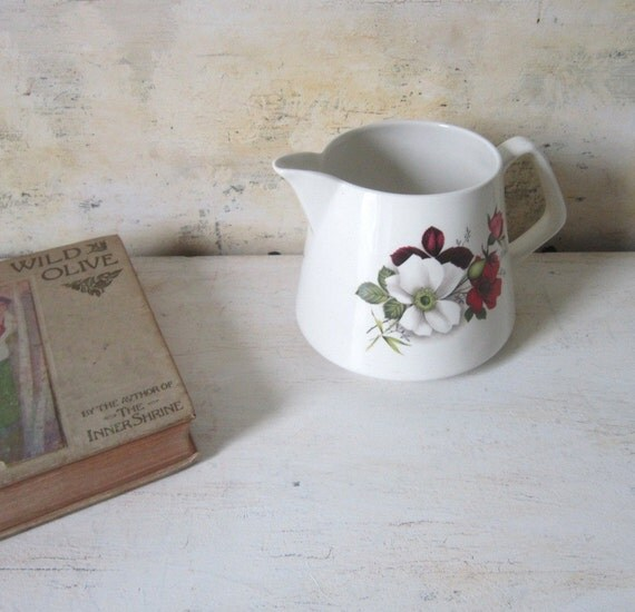 English Juice Milk Pitcher Vase Charming Vintage Lord Nelson Floral White Pink Red Green Garden Gift for Her  Brunch is on the Menu