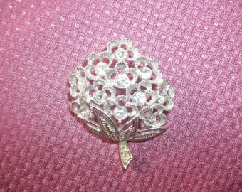 Sarah Coventry 1970's Sparkle Lites Silver-Toned Rhinestone Flower Brooch