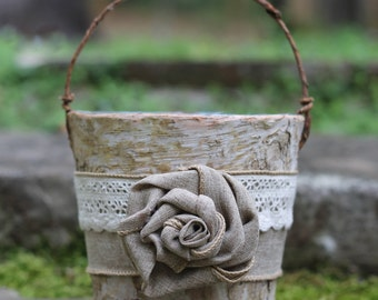 Birch Rustic Flower Girl Basket Burlap, Lace and A Burlap Rose