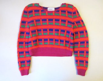 Vintage 90s Crop Hand Knit Wool Sweater