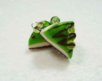 Chocolate Lime Cheesecake earrings. Polymer clay.
