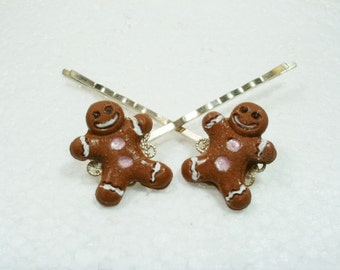 Gingerbread Man Hair Grips Bobby Pins. Polymer Clay.