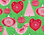 Michael Miller Christmas fabric by the yard Ornaments for All in Green 1 yard