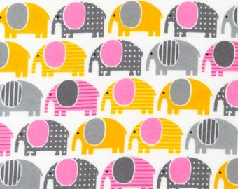 FLANNEL Fabric for quilt or craft Urban Zoologie by Ann Kelle for Robert Kaufman Elephants in Grey Fat Quarter
