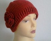 Red Woman Beanie Hat With Flower, Crocheted Red Woman Hat With Flower,