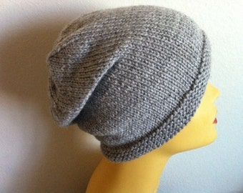 Mens Beanie Hat in gray warm slouchy beanie knitted washable soft unisex women teen