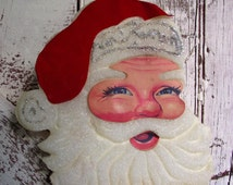 Santa Claus vintage styrofoam wreath, wall hanging, Santa head