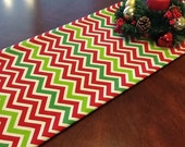 Table Runner - Christmas Table Runner Red, Green, Natural Chevron Table Runners - HolidayTable  Runner Select A Size
