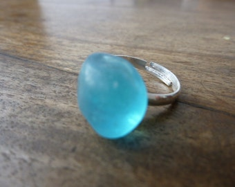 Turquoise Blue Sea Glass Ring
