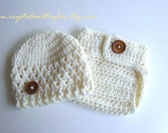 Baby Crochet Hat and Diaper Cover In Ivory, Choose Your Color, Baby Hat, Newborn Diaper Cover, Newborn Crochet Hat