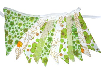 Vintage Bunting - Retro 'Eco - Green and Orange Floral' & lace Flags. Home Decoration Banner . BBQ, Birthday Garden Party. Australian Made