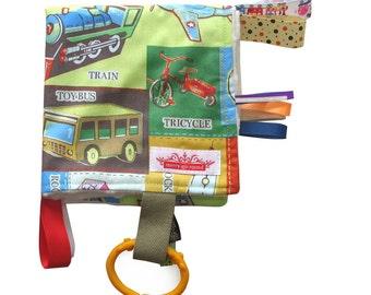 Taggy Snuggly Tag Toy Mini Blankie Comforter. BABY GIFT - 'Vintage' Boys Toys RETRO print