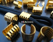6pcs Gold Crimp Cord Ends Cap - Findings Gold Plated Small Round Curve Adjustable Fold Over Crimps End Caps without Loop 8mm x 7.5mm