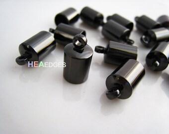 6pcs Gunmetal Black End Caps 6mm - Findings Gunmetal Black Leather Cord Ends Cap with Loop 12.5mm x 7mm ( inside 6mm Diameter )