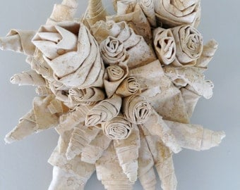 Wall Sculpture In Folded Tea Stained Canvas