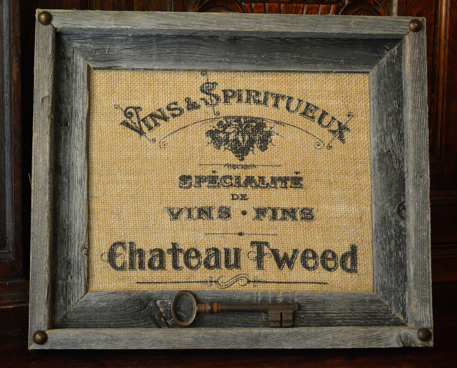 Vintage French Personalized Burlap Art Wine By