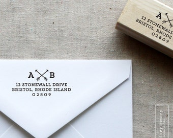 Arrows Return Address Stamp. Wedding Invitation Stamp. Wood or Self-Inking Stamp. Style 20. Personalized Rubber Stamp. Custom Office Stamp.