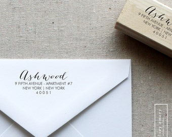 Return Address Stamp, Wood Mounted or Self-Inking Address Stamp, Wedding Invitation Stamp, Personalized Stamp, Gift for Her, Style 3